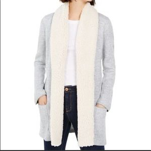 Long cardigan with Sherpa trim size S